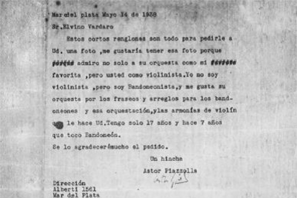 Letter to Elvino Vardano, written by Astor at the age of 17